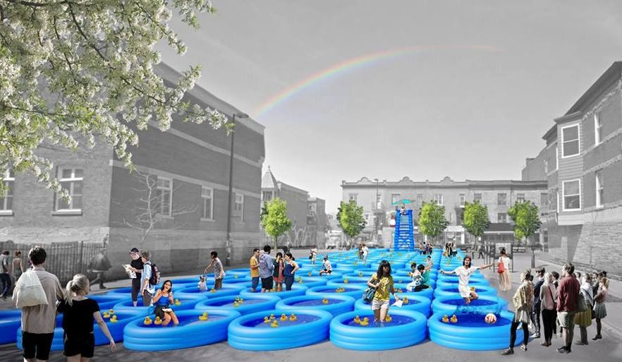 Mont-Royal Ave. becoming a Giant Swimming Pool this Summer