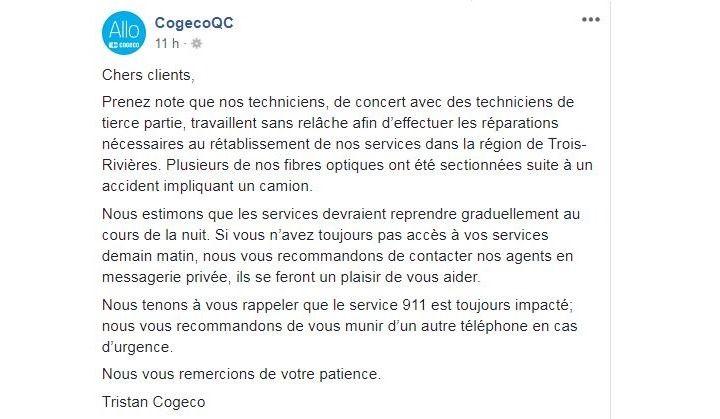 Importante panne pour les clients de Cogeco à Trois-Rivières