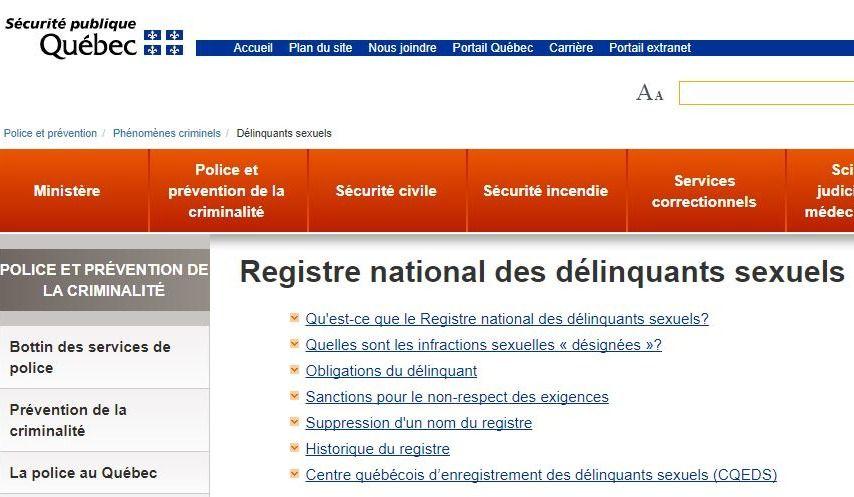 À quoi sert le registre national des délinquants sexuels?