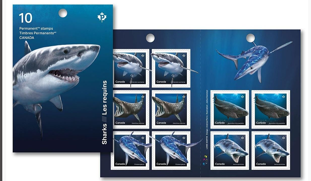 Canada Post has unveiled 5 new stamps celebrating sharks